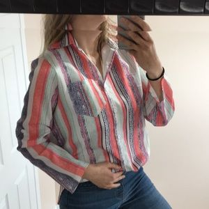 Vintage inspired button up blouse funky M